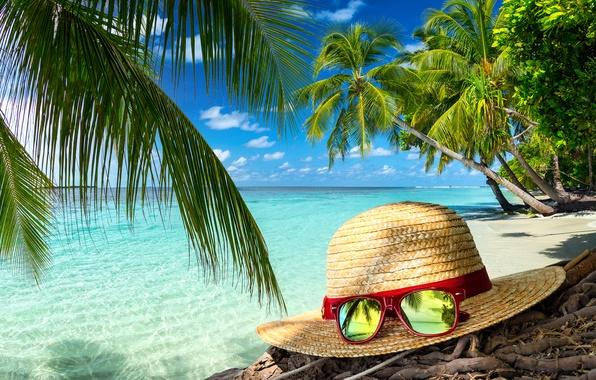 Картинка песок, море, пляж, лето, шляпа, очки, summer, beach, sea, sand, vacation