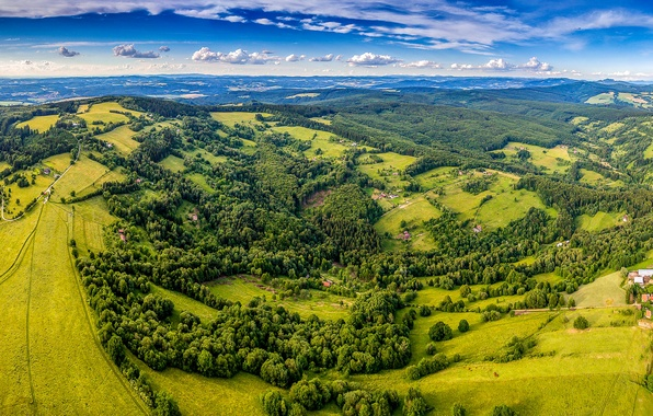 Картинка зелень, лето, небо, солнце, облака, деревья, поля, Чехия, панорама, домики, леса, вид сверху, луга, Zitkova