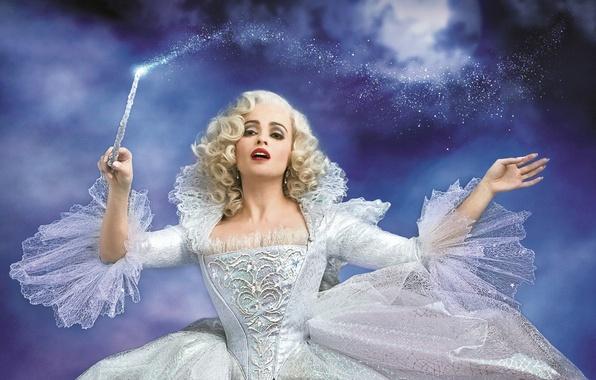 Картинка волшебство, магия, сказка, платье, фея, фэнтези, блондинка, в белом, Золушка, волшебная палочка, Helena Bonham Carter, …