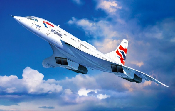 Картинка art, airplane, painting, aviation, jet, Concorde British Airways