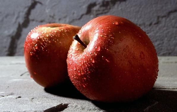 Картинка вода, капли, фон, красное, обои, яблоки, яблоко, еда, wallpaper, широкоформатные, background, полноэкранные, HD wallpapers, широкоэкранные