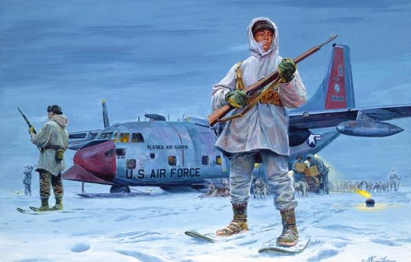 Картинка собаки, снег, самолет, рисунок, аляска, Mort Kunstler, эскимосы, стражи севера, упряжки, ввс национальной гвардии