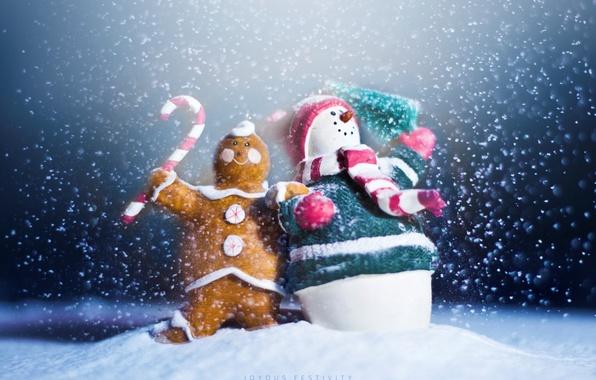 Картинка праздник, новый год, снеговик, new year, happy, winter, snow, snowman, пряник