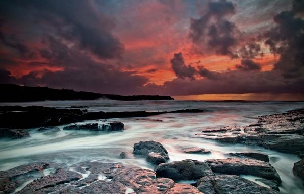 Картинка волны, осень, вода, облака, закат, тучи, камни, скалы, берег, выдержка, Клэр, потоки, Атлантический океан, ноябрь, …