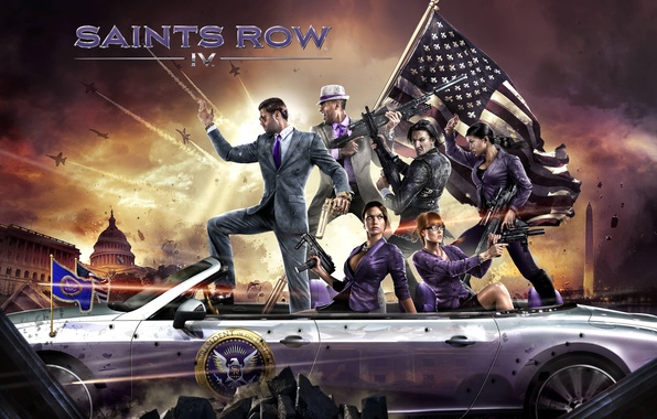 Картинка оружие, флаг, тачка, персонажи, Washington, Deep Silver, Saints Row 4