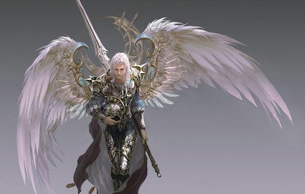 Картинка крылья, меч, доспехи, воин, шлем, плащ, серый фон, Archangel