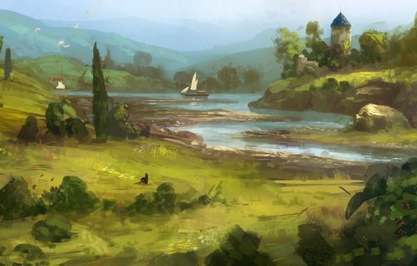 Картинка зелень, кошка, трава, река, арт, нарисованный пейзаж