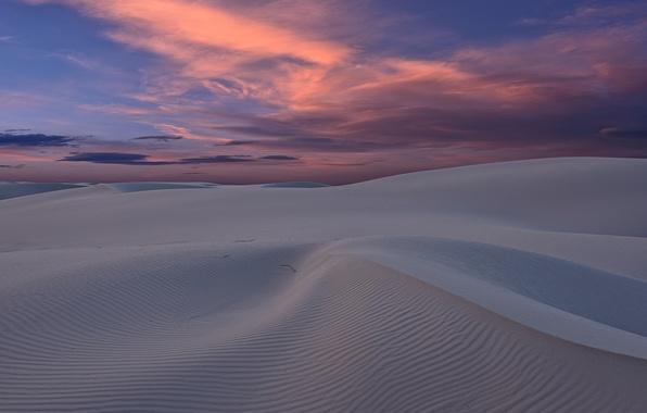 Картинка песок, закат, пустыня, дюны, США, Нью-Мексико