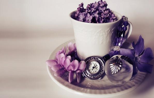 Картинка цветы, часы, яблоко, кружка, сирень, сувенир