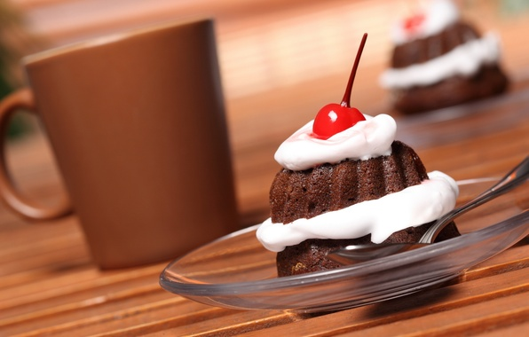 Картинка вишня, стакан, еда, шоколад, тарелка, ложка, plate, glass, пирожное, cake, крем, десерт, food, сладкое, chocolate, …