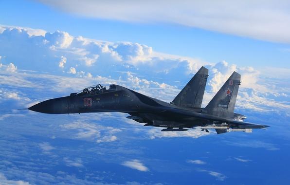 Фото обои небо, облака, истребитель, полёт, Су-35, реактивный, многоцелевой, сверхманевренный