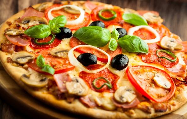Картинка грибы, сыр, перец, пицца, помидоры, pizza, блюдо, маслины, ветчина