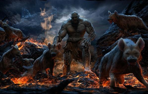 Картинка звери, скалы, огонь, монстр, хищники, арт, лава, гиена, Mahmmoud Salah Ali