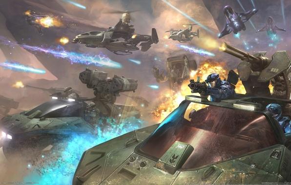 Картинка будущее, оружие, стрелки, взрывы, корабли, пушки, бой, future, солдаты, fire, штурм, Хало, танки, десант, вспышки, …