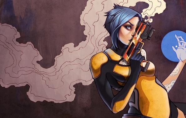 Картинка девушка, пистолет, оружие, дым, арт, Maya, Borderlands 2