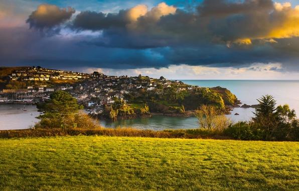 Картинка море, облака, побережье, Англия, деревня, England, Корнуолл, Cornwall, Ла-Манш, English Channel, Полруан, Polruan
