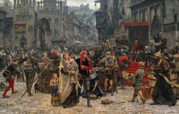 Картинка толпа, картина, площадь, средневековье, 1889