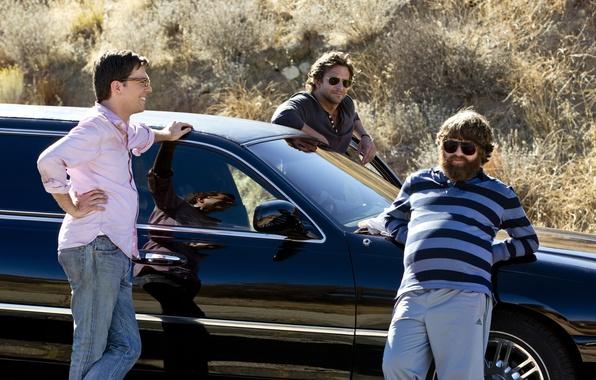 Картинка машина, Брэдли Купер, мужчины, Zach Galifianakis, Зак Галифианакис, Alan, Bradley Cooper, Ed Helms, Эд Хелмс, …