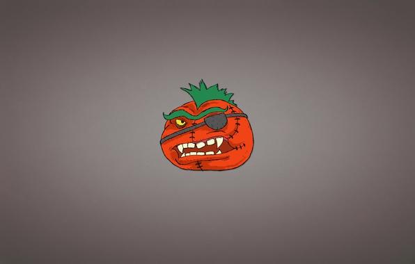 Картинка минимализм, прическа, повязка, томат, помидор, овощ, зубастый, Ирокез, tomato
