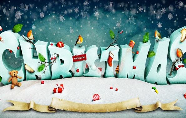 Картинка снег, снежинки, креатив, праздник, надпись, игрушки, мишка, подарки, Новый год, птички, Christmas