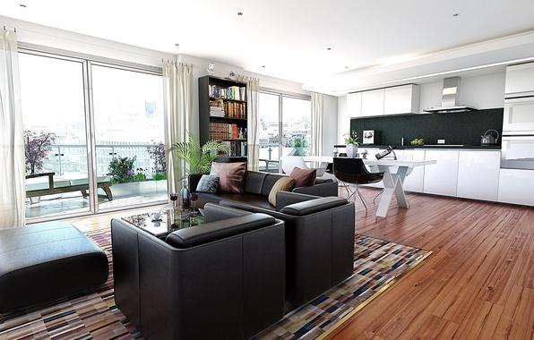 Картинка дизайн, город, стиль, интерьер, балкон, жилая комната, городская квартира