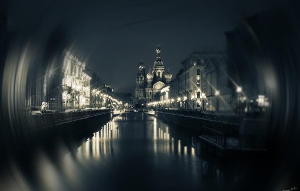 Картинка вода, ночь, мост, город, огни, Питер, Санкт-Петербург, церковь, храм, спас на крови, крови, купола, нева, …