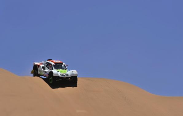Картинка Песок, Авто, Спорт, Пустыня, Машина, Гонка, День, Rally, Dakar, Дюна, Buggy, Спуск, 316