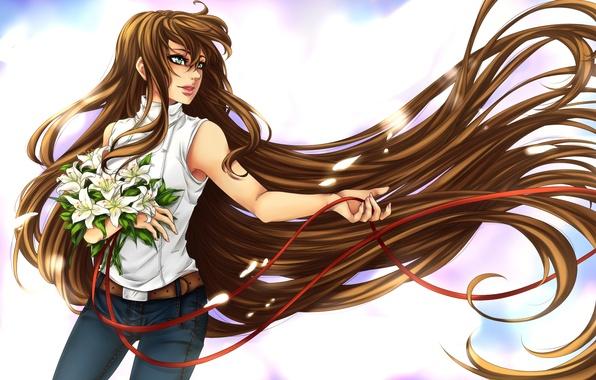 картинки девушек с длинными волосами аниме