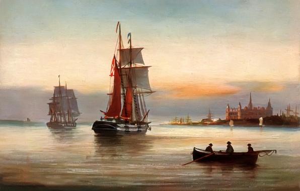 Картинка море, небо, пейзаж, город, люди, замок, лодка, корабль, картина, паруса, Alfred Jansen