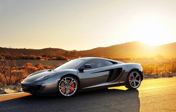 Картинка car, серый, спорт, Макларен, sport, суперкар, cars, кар, MP4-12C, Mclaren, закат.