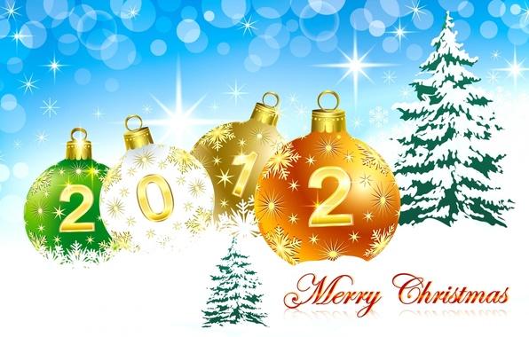Картинка небо, снег, праздник, шары, елки, елка, новый год, 2012, happy new year, merry christmas, новогодние …