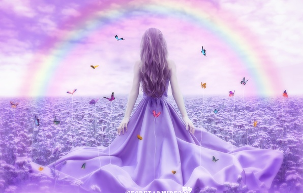 Картинка девушка, бабочки, цветы, природа, радуга, ретушь, Secretadmires