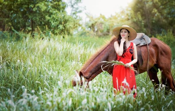 Картинка девушка, природа, конь, лошадь, шляпа, платье