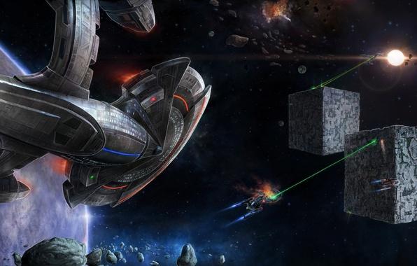 Картинка кубы, корабли, лазеры, двигатели