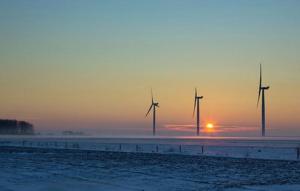 Картинка поле, закат, ветряки