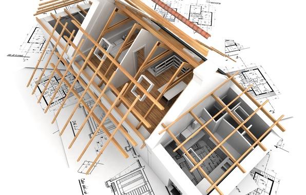 Картинка дом, рендеринг, обои, интерьер, план, архитектура, строительство, комнаты, планировка