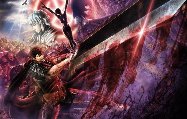 Картинка грудь, небо, девушка, друг, кровь, голая, меч, бой, воин, удар, шлем, крик, враг, твари, Гатс, …