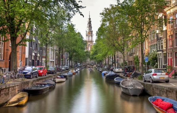 Картинка вода, деревья, машины, мост, город, река, здания, дома, лодки, Амстердам, канал, Нидерланды, Amsterdam, велосипеды, Nederland