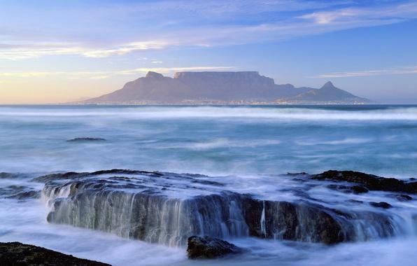 Картинка небо, вода, пейзаж, горы, город, океан