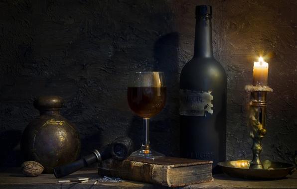 Картинка бокал, бутылка, свеча, трубка, воск, Still life