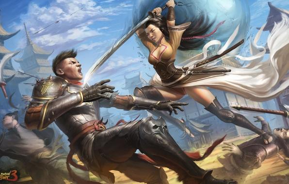 Фото обои оружие, игра, Shadow fight 3, девушка, арт, парень, доспехи