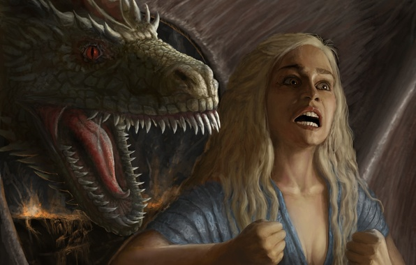 Картинка девушка, эмоции, дракон, арт, ярость, A Song of Ice and Fire, Игра Престолов, Песнь Льда …