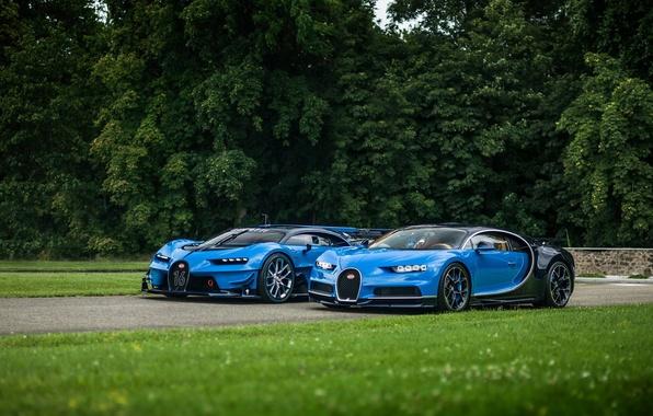 Фото обои газон, Bugatti, Vision, Gran Turismo, Chiron