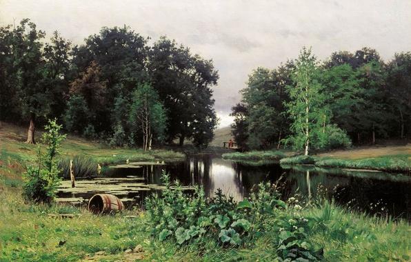 Картинка лето, природа, Волков Ефим Ефимович, Пейзаж с прудом