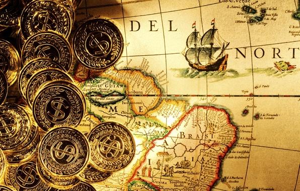 Картинка золото, карта, деньги, wallpaper, пираты, монеты