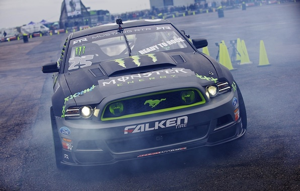Картинка Mustang, Ford, drift, falken, monster energy, Gymkhana