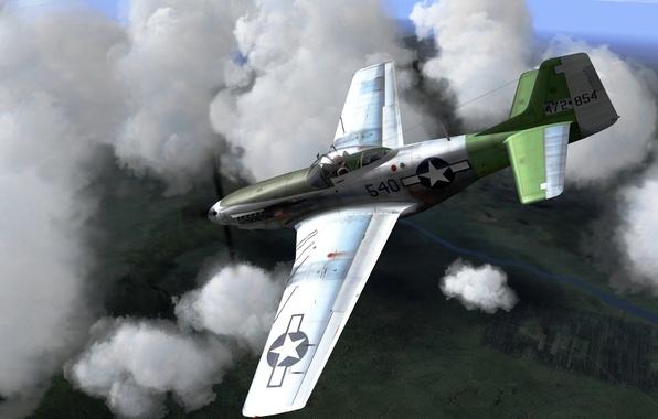 Картинка небо, рисунок, истребитель, арт, американский, North American, WW2, P-51 Mustang, одноместный