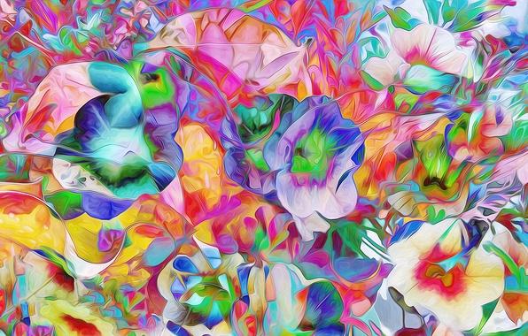 Картинка поле, цветы, рендеринг, лепестки, луг