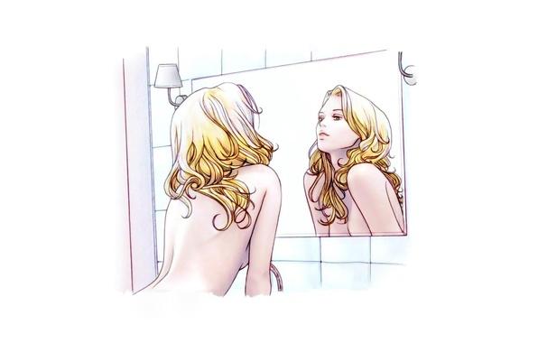 Картинка девушка, утро, зеркало