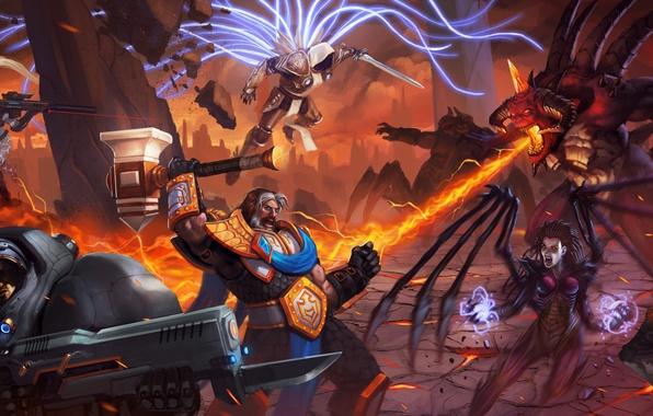 Картинка starcraft, zerg, diablo, Jim Raynor, Tyrael, Heroes of the Storm, Archangel of Justice, nova, nova …